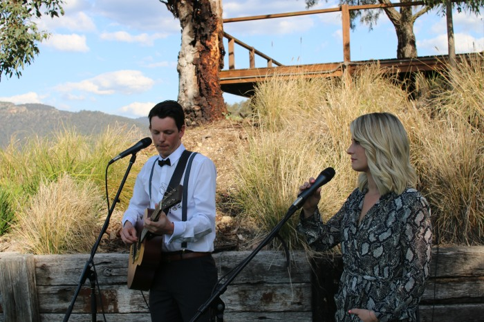 Chris and Erika singing as they signed the registry